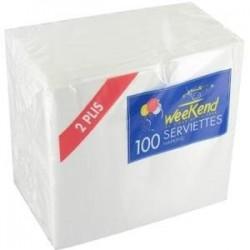 SERVIETTE 30X30 BLANCHE *100  1P