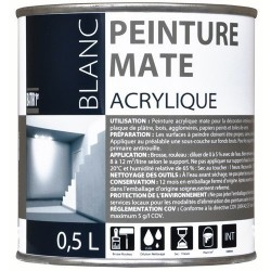 PEINTURE ACRYLIQUE MAT 0,5 L BLANC BATIR 1ER NOUVEAU