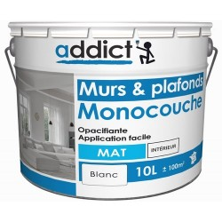 ACRYLIQUE MAT MONOCOUCHE 10 L BLANC ADDICT