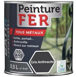 PEINTURE FER BRILLANTE 0,5 L GRIS ANTHRACITE AQUAREL