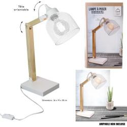 LAMPE DE BUREAU BLANC GRILLE METAL E27 0M26X0M14X0M38 NOUVEAU