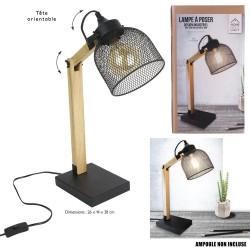 LAMPE DE BUREAU NOIR GRILLE METAL E27 0M26X0M14X0M38 NOUVEAU