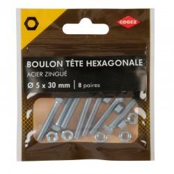 BOULON TETE HEXA + ECROU 5X30MM 8 PAIRES